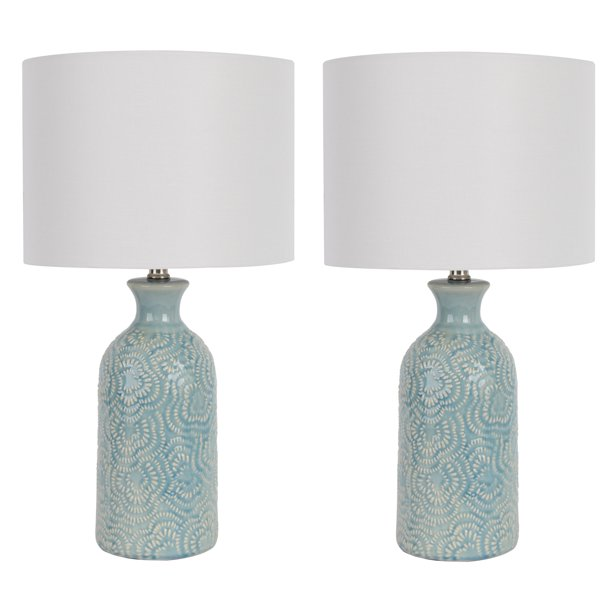 TEXTURAL BLUE CERAMIC TABLE LAMP-WHITE HARDBACK