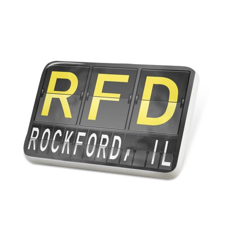 Porcelein Pin RFD Airport Code for Rockford, IL Lapel Badge – NEONBLOND (Party City Rockford Il)
