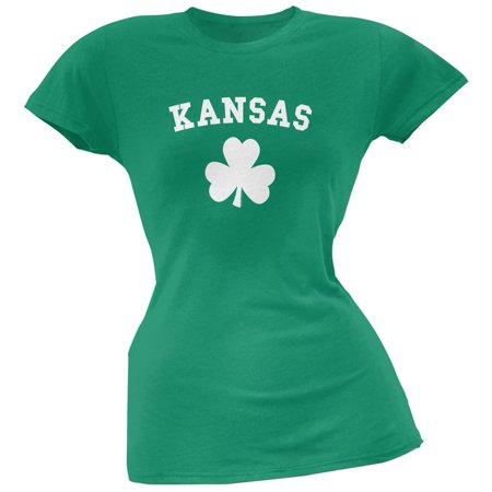 St. Patrick's Day - Kansas Shamrock Green Juniors Soft T-Shirt