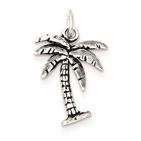 - 925 Sterling Silver Antiqued 3-D Palm Tree 21mm x 15mm Charm Pendant