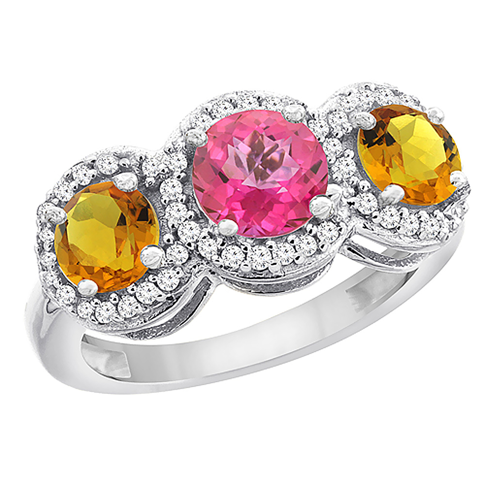 14K White Gold Natural Pink Topaz & Citrine Sides Round 3-stone Ring Diamond Accents, size 5 by Gabriella Gold