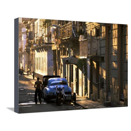 Street Scene in Evening Light, Havana, Cuba, West Indies, Central America Stretched Canvas Print Wall Art By Lee -