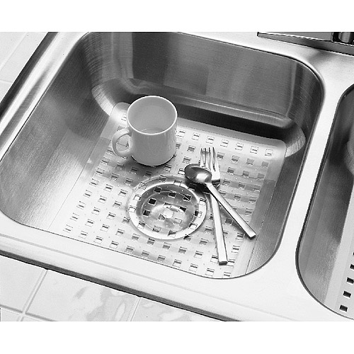 InterDesign Euro Kitchen Sink Protector Mat, Regular, Clear