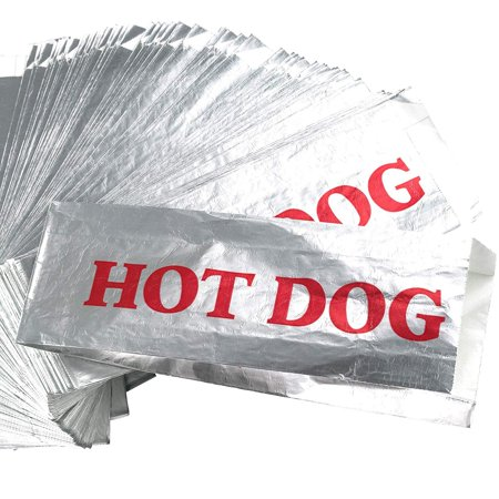 Warming Foil Hot Dog Wrapper Sleeves 50 Pack by Avant Grub. Turn a Party into a Carnival with Classic HotDog Bags that Keep Dogs Warm and Fundraiser or Concession Stand Guests Mess-Free! - Carnival Supplies