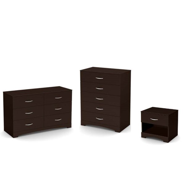 3 Piece Set with Dresser Nightstand and Drawer Chest in Dark Chocolate