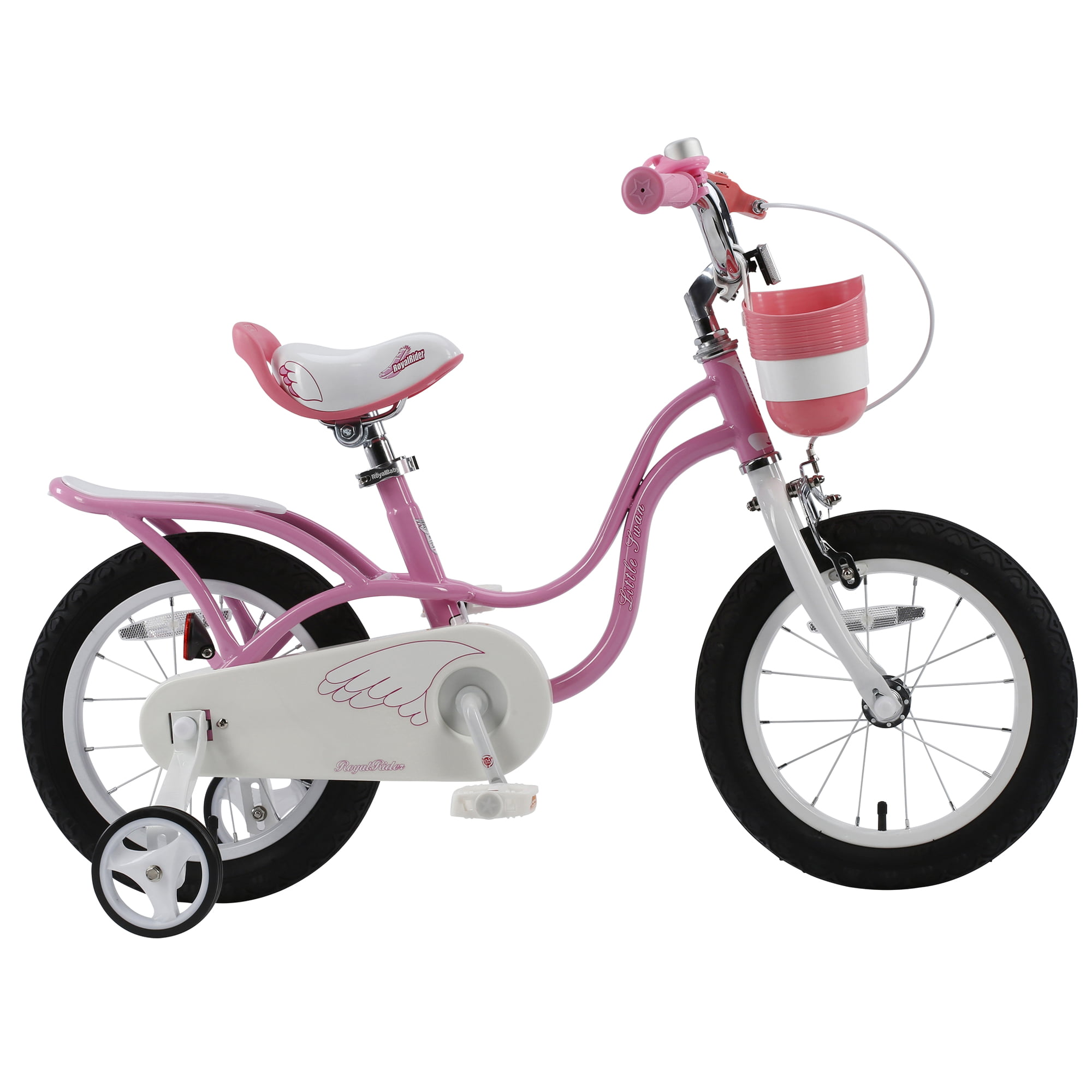 RoyalBaby Little Swan Girl's Bike with basket,16 inch with training wheels and kickstand, gifts for kids by Cycle Force Group