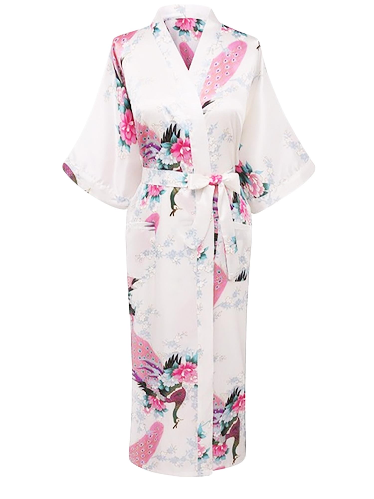 Elegant Long Floral Silk Kimono Womens Robe, Sizes 2 to 20, Brides and Bridesmaid Robes, Lightweight Robe