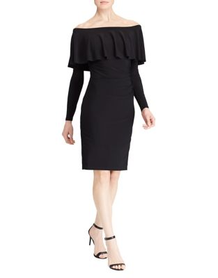 Lauren Ralph Lauren Women's Ruffled Off-The-Shoulder Jersey Dress (10, Black)