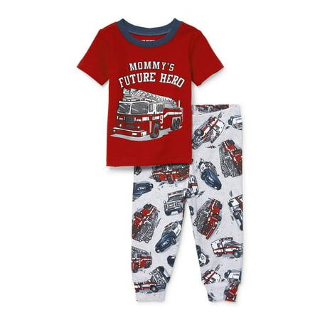 Short Sleeve Snug-Fit Pajamas, 2pc Set (Baby Boys & Toddler Boys) - Orange Boas