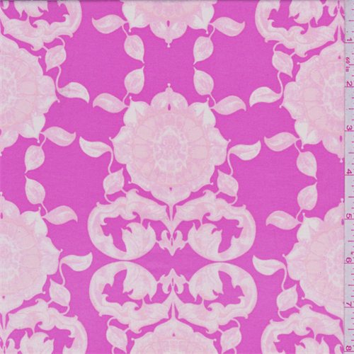 Bubblegum Pink Floral Print Voile, Fabric By the Yard