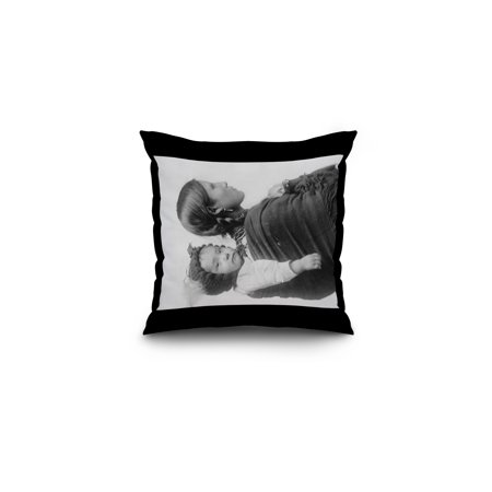 Plains Indian with Baby on Her Back Photograph (16x16 Spun Polyester Pillow, Black Border)