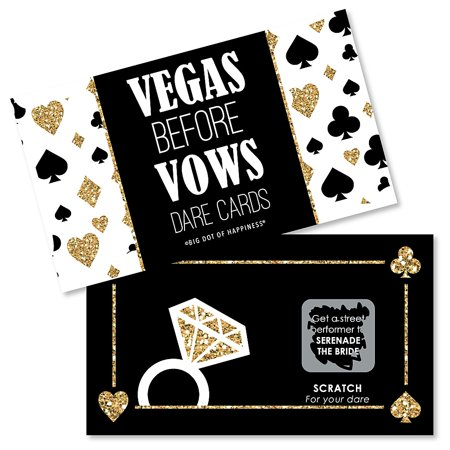Vegas Before Vows - Las Vegas Bridal Shower or Bachelorette Party Game Scratch Off Dare Cards - 22