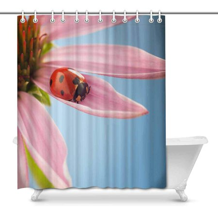 POP Elegant Ladybug Ladybird in Spring Flowers Art Shower Curtain 66x72 inch - image 1 of 1