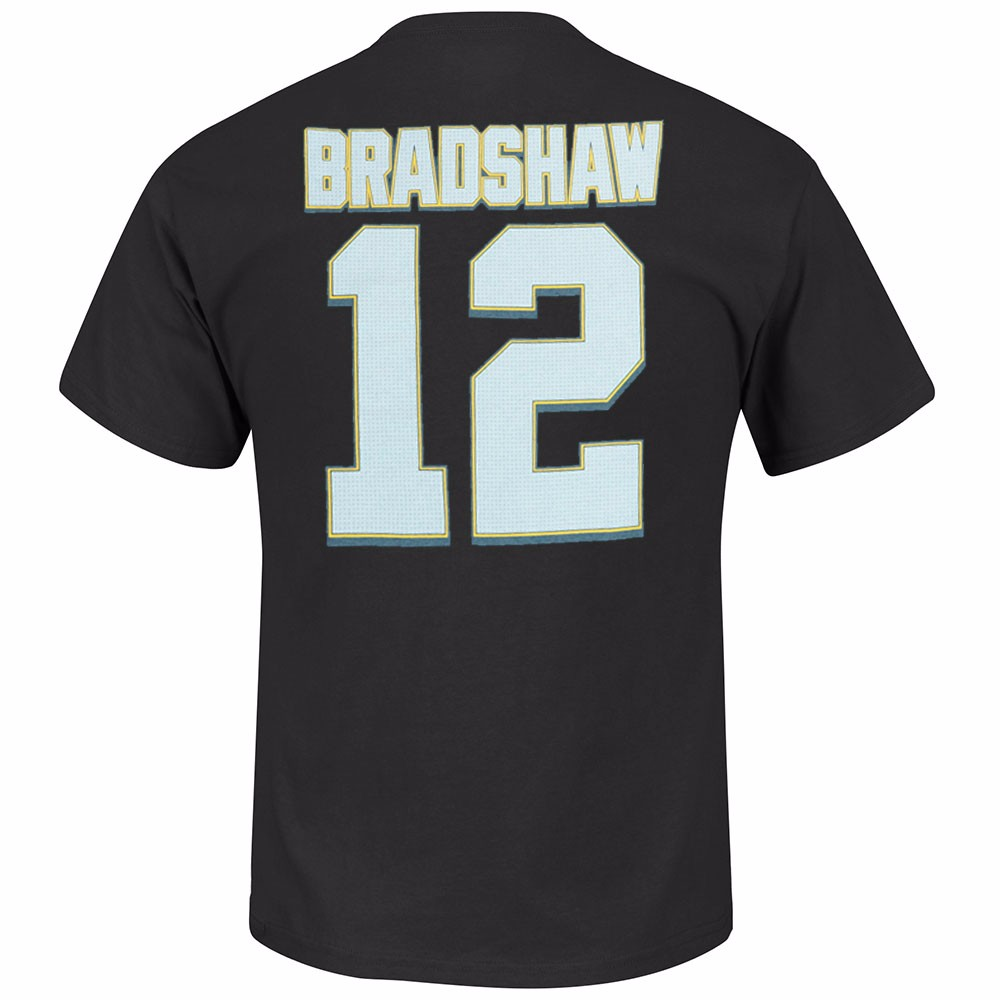 "Terry Bradshaw Pittsburgh Steelers NFL Majestic Athletic Men's Black Hall Of Fame ""Eligible Receiver"" T-Shirt"