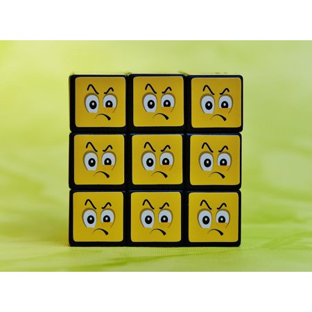 Canvas Print Emoticon Grim Emotion Smilies Feelings Mood Cube Stretched Canvas 10 x (Emotion Cubes)