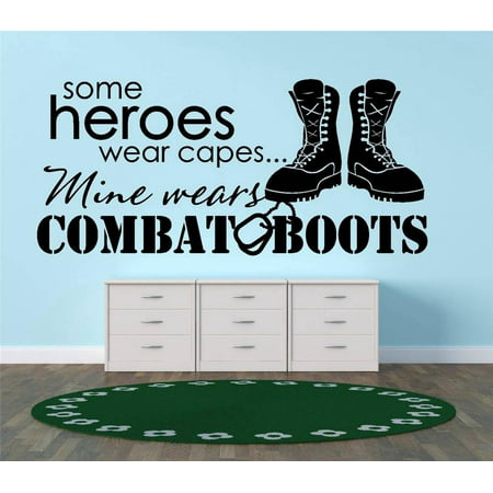 Living Room Art Some Heroes Wear Capes Mine Wears Combat Boots