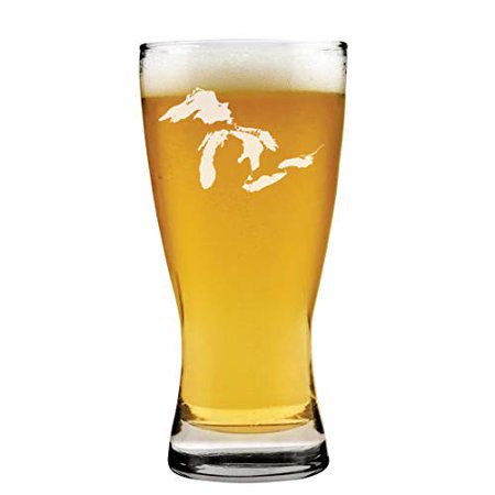 15 oz Beer Pilsner Glass Great Lakes Michigan