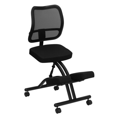 Lancaster Home Mobile Ergonomic Kneeling Chair with Black Curved Mesh Back and Fabric Seat