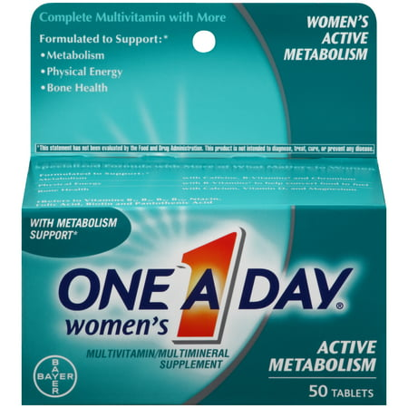 One A Day Women's Active Metabolism Multivitamins, Supplement with Vitamins A, C, E, B2, B6, B12, Iron, Calcium and Vitamin D, 50