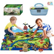ToyVelt Dinosaur Play Set Dinosaur Toys Includes Dinosaur Figures, Trees, Rocks, PlayMat, And A Beautiful Container Create a Dino World Great Gift for Boys & Girls Ages 3,4,5,6, and Up