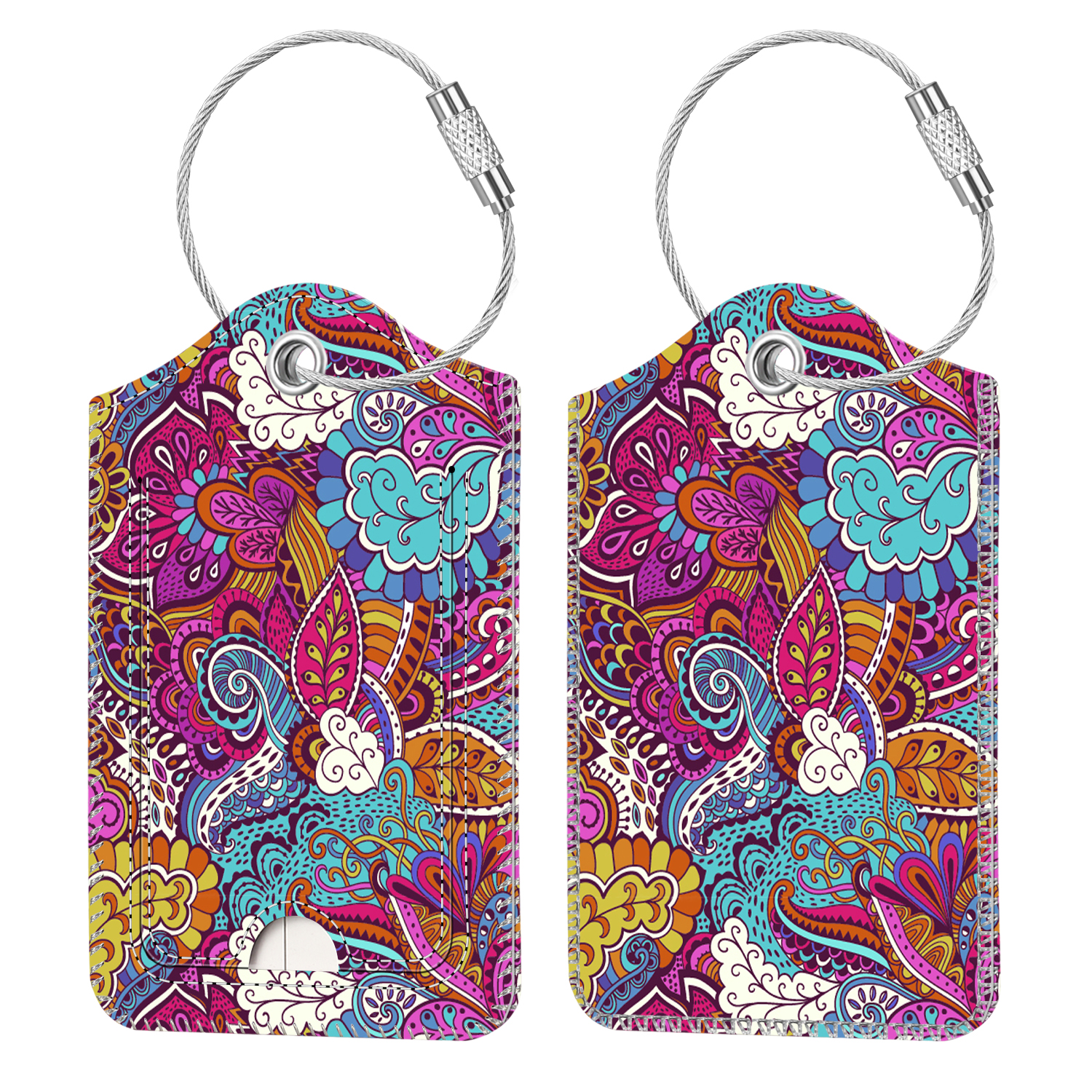 Tie Dye Marble Luggage Tags With Full Back Privacy Cover W//Steel Loops
