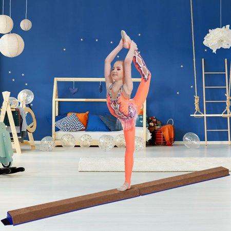 GOPLUS Poutre de Gymnastique Pliable Poutre d'Equilibre Enfants et Adultes Entraînement de Gymnastique à Domicile Bleu Café - image 3 de 10