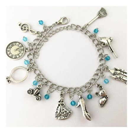 Cinderella 10 Charms Lobster Clasp Bracelet in Gift Box by Superheroes (Cinderella Gifts)