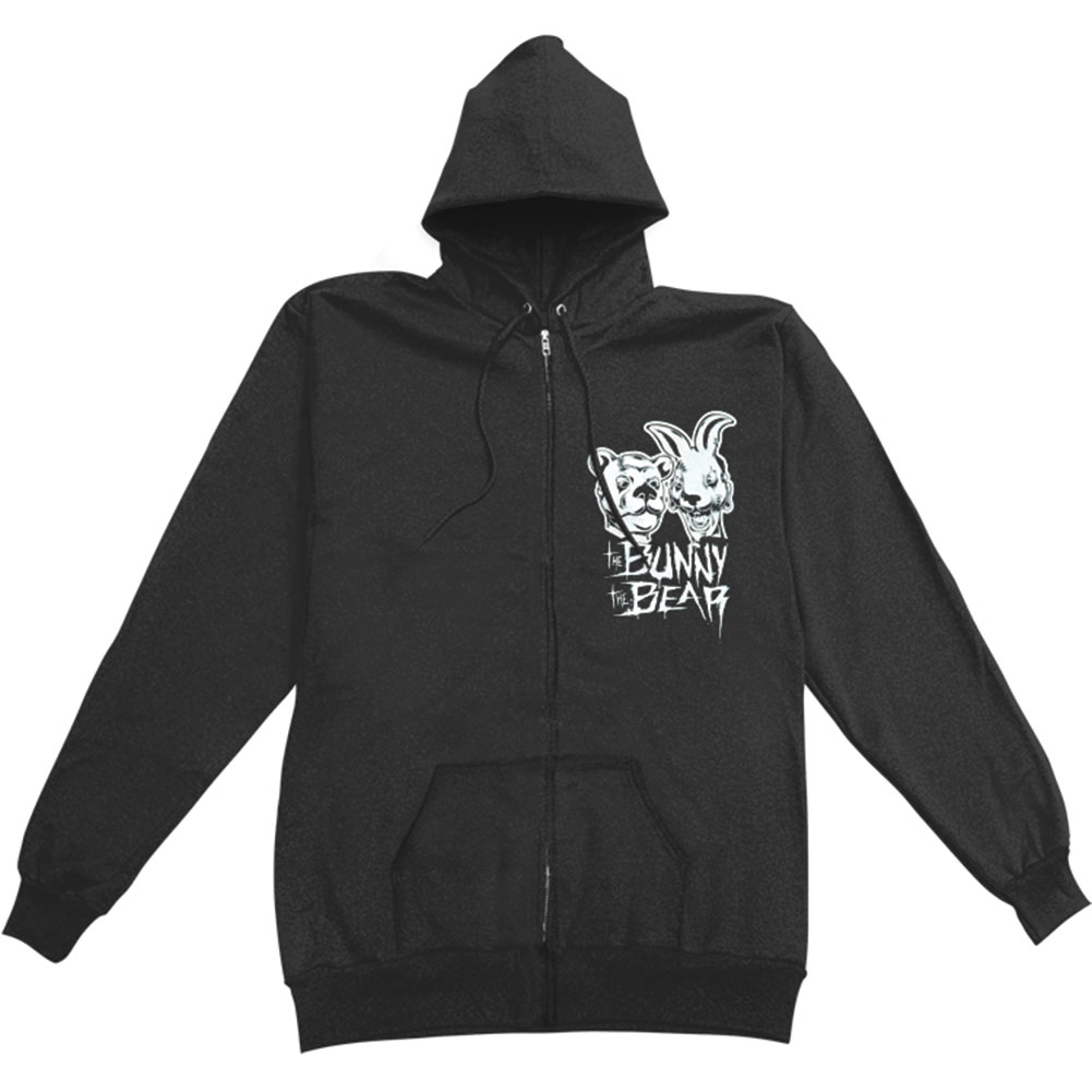 Bunny The Bear Men's  I'm Scared Now Zippered Hooded Sweatshirt Black