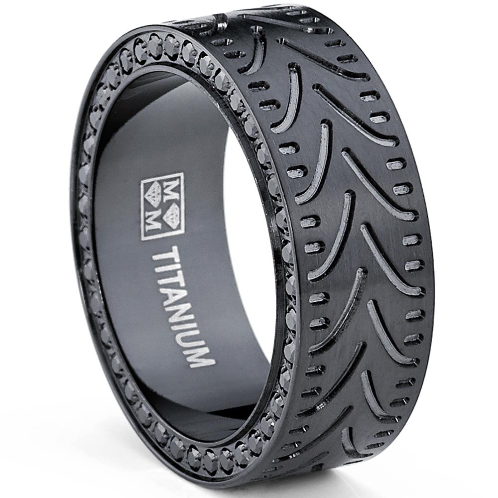 Black Titanium Men's Eternity Engagement Wedding Band Ring with Black Cubic Zirconia CZ, 8mm