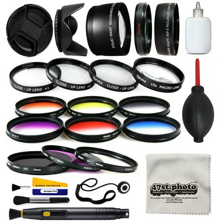 58mm Professional Lens +Filter Kit for DSLR Cameras featuring HD 0.43x Wide Lens + HD 2.2x Tele Lens + 13 Pcs HD filter package + more for Canon Rebel SL1 SL2 T5 T5i T6 T6I T7 T7i Digital SLR Cameras ()