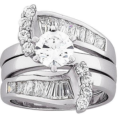 3.1 Carat T.G.W Fancy Cubic Zirconia Sterling Silver Bridal Set by MBM