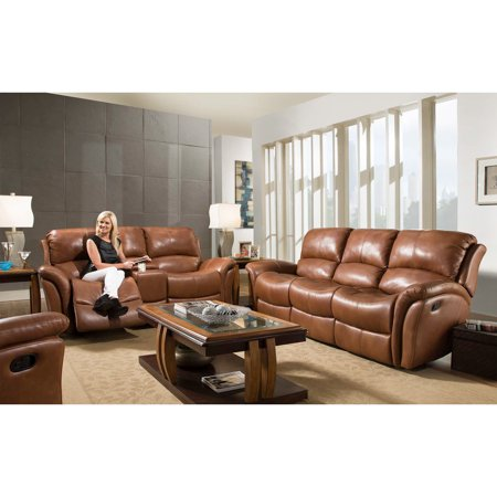 Cambridge Appalachia Leather Double Reclining Loveseat in Old -