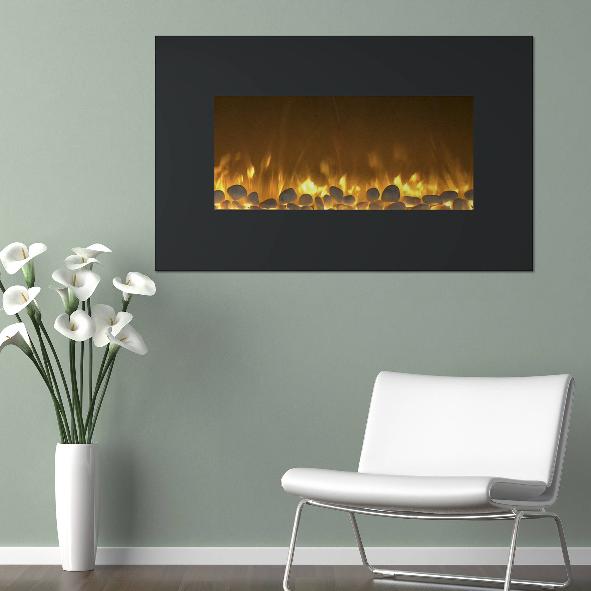 "Northwest 36"" Fireplace Color Changing Wall Mount Floor Stand"