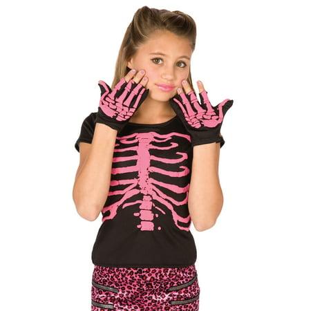 Pink Skeleton Shirt and Gloves 2pc Girl Costume, Black Pink, One Size - Punk Skeleton