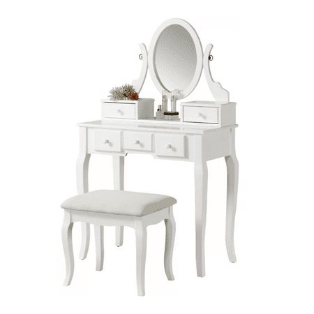 Roundhill Ashley Wood Make-Up Vanity Table and Stool Set, Multiple Colors Available