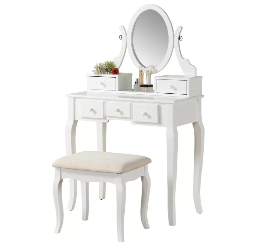 Roundhill Ashley Wood Make Up Vanity Table And Stool Set, Multiple Colors  Available