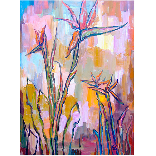 "Trademark Fine Art ""Birds in Paradise"" Canvas Art by Wendra, 14x19"