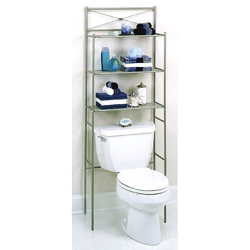 Cross Bar Design Spacesaver With 3 Shelves Pearl Nickel Finish
