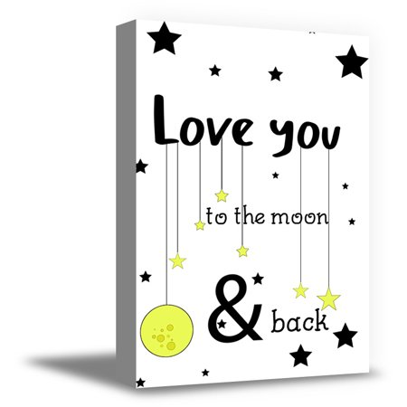 Quote Framed Poster - Awkward Styles Mother Quotes Baby Boy Room Decor Love You To The Moon & Back Canvas Printed Art Ready to Hang Art Baby Girl Wall Art Decor Framed Poster for Kids Nursery Room Love Quotes for Kids