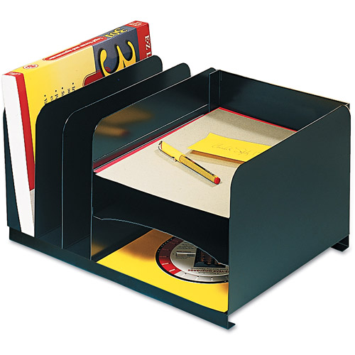 MMF Industries Steelmaster Vertical/Horizontal Combo 6-Section Organizer, Black