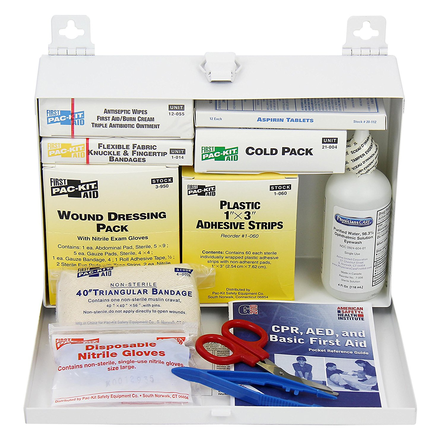 by First Aid Only 6100, 143 Piece ANSI Plus, 25 Person First Aid Kit With Steel Case, Waterproof Premium PVP PacKit 8010 Povidone Coded Capacity 90 Aid 10.., By Pac-Kit