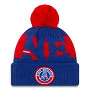New England Patriots New Era 2020 NFL Sideline Historic Logo Sport Pom Cuffed Knit Hat - Royal/Red - OSFA