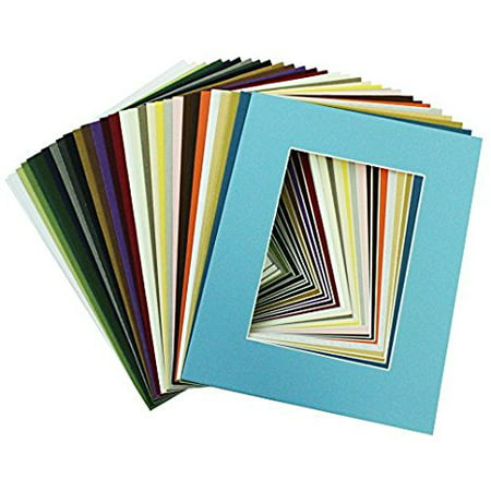Mix Board - Mat Board Center, High Quality Crescent Pack of 20, 8x10 MIXED COLORS White Core Picture Mats Matting for 5x7 Photo