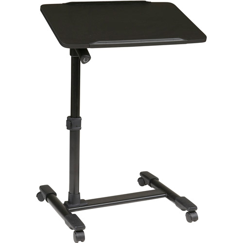 Office Star Products Mobile Laptop Cart with Adjustable Top, Black