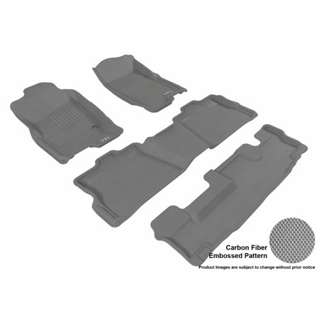 3D MAXpider 2006-2010 Ford Explorer Front, Second, & Third Row Set All Weather Floor Liners in Gray with Carbon Fiber Look