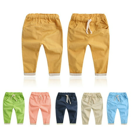 Kacakid Soft Cotton Baby Pants Trousers Kids Boys Girls Trousers Harem Pants 2-7 Years