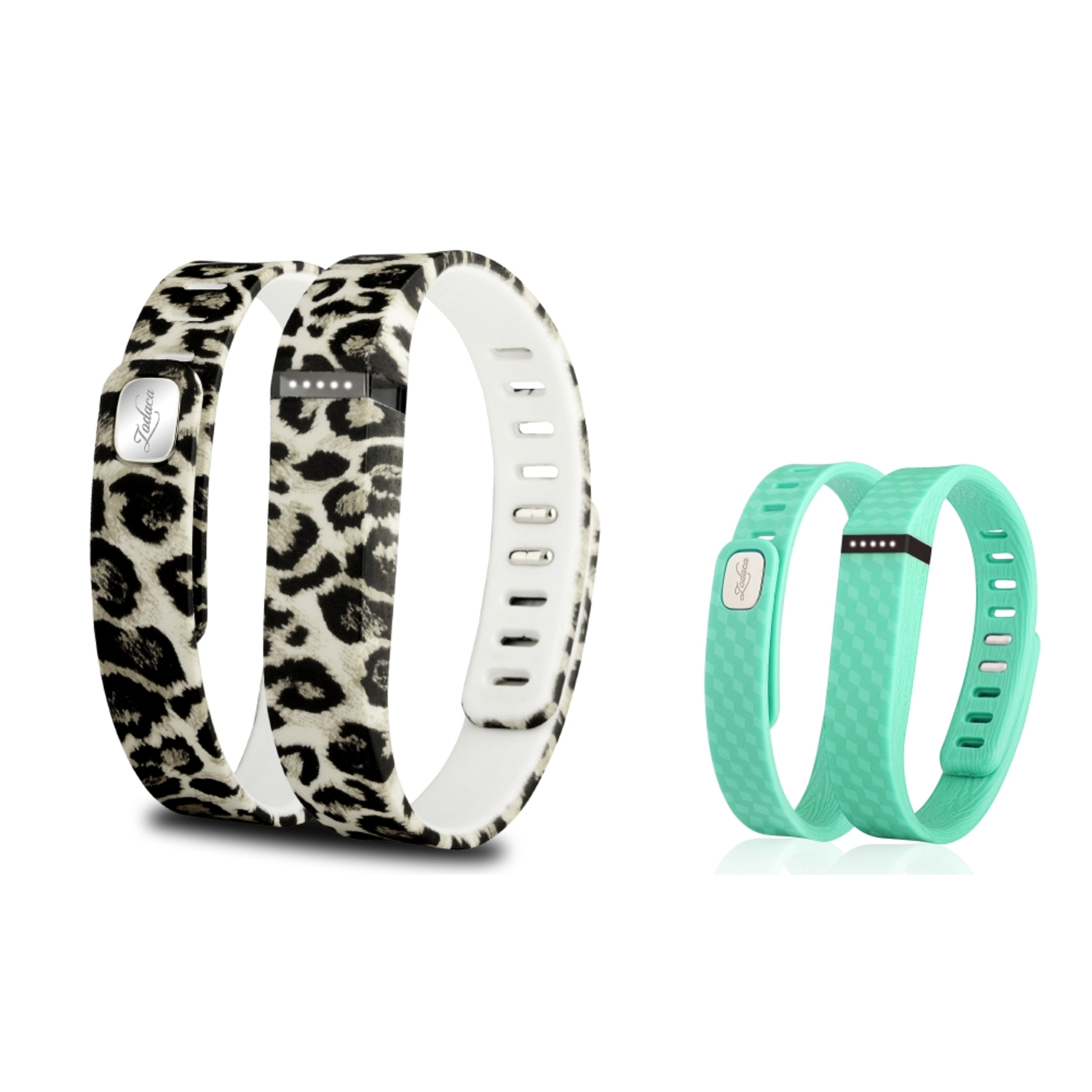 Zodaca 2-pack Small Size TPU Replacement Band Wristband with Clasp for Fitbit Flex Bracelet - Brown Leopard+Mint Green