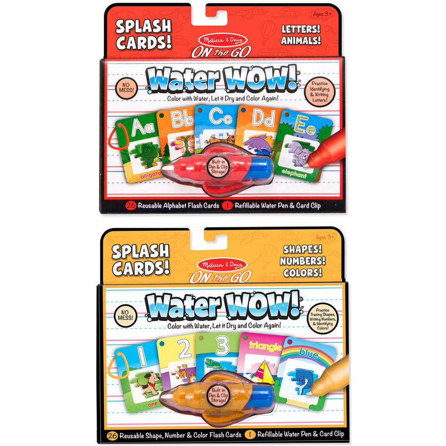 Melissa & Doug On the Go Water Wow Splash Cards, 2-Pack  - Alphabet and Numbers and Colors