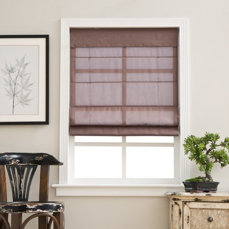 Overstock arlo blinds espresso cordless fabric roman light for What does light filtering blinds mean