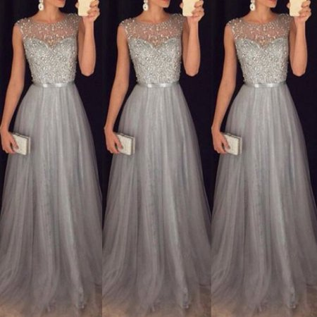 Women Formal Wedding Bridesmaid Long Evening Party Ball Prom Gown Cocktail - Dress For Halloween Wedding